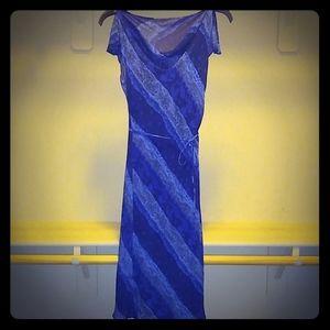Express blue print mid length summer dress